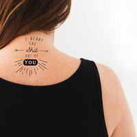 """Temporary Tattoo """"I Heart the Shit Out of You"""" Tattoo 