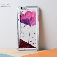 Lotus Dynamic Liquid Red Glitter Sand Quicksand Star Bling Clear iPhone 6 Plus case Phone Case