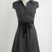 Vintage Inspired Mid-length Cap Sleeves Shirt Dress Hepcat Soda Fountain Dress in Black Licorice