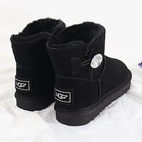 UGG New Couple Diamond Buckle Mid-Cut Snow Shoes Boots