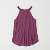 Womens Linen-Blend High Neck Tank | Womens New Arrivals | Abercrombie.com