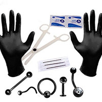 Professional Body Piercing Kit 14G, 16G, 18G Black (Belly Button, Eyebrow, Nipple, Lip, Nose, Face) 12PC