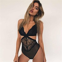 Sexy Women Mesh Stitching Lace One Piece