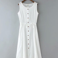 Sleeveless Retro Waist Dress with Button