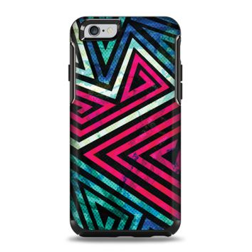 The Grungy Neon Triangular Zig Zag Shapes Apple iPhone 6 Otterbox Symmetry Case Skin