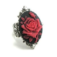 Gothic Lolita Jewelry - Cameo Rose Ring by Ghostlove