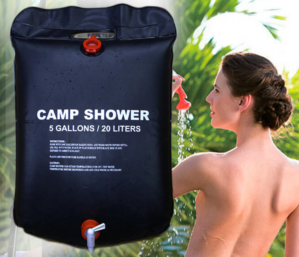 Image of 20L Foldable Solar Energy Heated Camp Shower Bag PVC Water Bag For Outdoor Camping