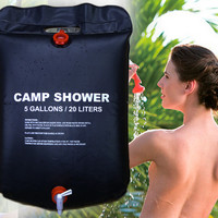 20L Foldable Solar Energy Heated Camp Shower Bag PVC Water Bag For Outdoor Camping