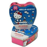 Hello Kitty Jigsaw Puzzle in Heart Shaped Tin, 100-Piece