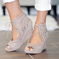 * Tye Lace Up Laser Cut Wedge: Taupe