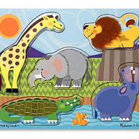 Melissa & Doug Touch & Feel Zoo Animals Puzzle - 5 Pieces