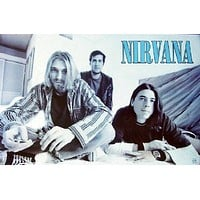 KURT COBAIN NIRVANA POSTER - RARE GROUP SHOT - NEW