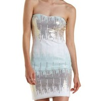 Pale Mint Combo Ombre Sequin Bodycon Dress by Charlotte Russe