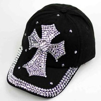 Black Rhinestone Cross Cap