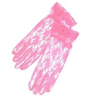 ZaZa Bridal Flower Pattern Women's Lace Gloves With Ruffle Wrist Length-One size Fits All-Pink