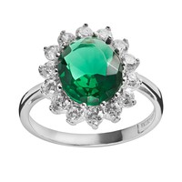 Sophie Miller Sterling Silver Simulated Emerald & Cubic Zirconia Halo Ring (White)