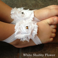 Treasury Item--White Shabby Flower barefoot baby sandals-Baby-photography prop-Baptisms-toe blooms-baby shoes-summer