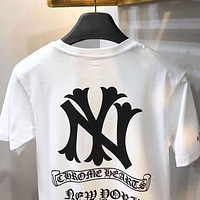 Chrome hearts x NY co-branded trend versatile loose round neck T-shirt white