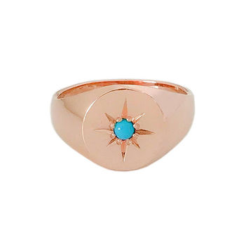 Turquoise & 14K Solid Gold Signet Style Ring {Classic Round Shaped Unique Star Setting Real Turquoise Gemstone Signet Ring Bands}