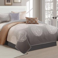 Flower Dot Medallion 3 Piece Quilt Bedding Set