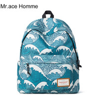 Wave Printed Canvas Backpack