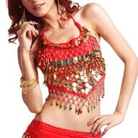 BellyLady Tribal Belly Dance Halter Banadge Bra Top With Pad, Halloween Top