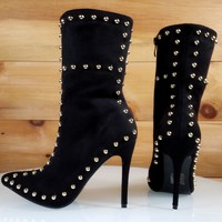 Top Show Black Vegan Suede Pointy Toe High Heel Gold Studded Ankle Boots