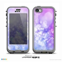 The Blue and Purple Translucent Glimmer Lights Skin for the iPhone 5c nüüd LifeProof Case
