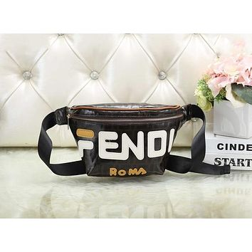 FENDI Fashion New Couple Leather Purse Waist Bag Single-Shoulder Bag Crossbody Satchel White