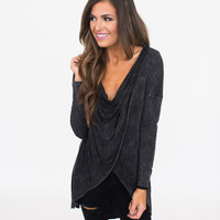 Cross Front Tunic- Charcoal