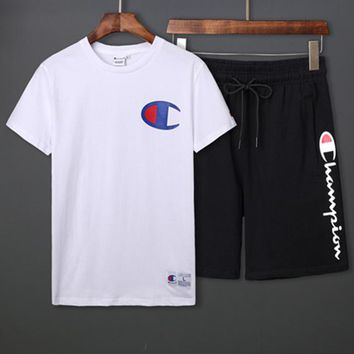 Champion 2019 new men's casual sports short-sleeved suit two-piece white