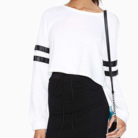 White Striped Long Sleeve Cropped Sweater