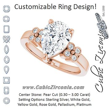 Cubic Zirconia Engagement Ring- The Heidi Grethe (Customizable 9-stone Design with Pear Cut Center and Complementary Quad Bezel-Accent Sets)