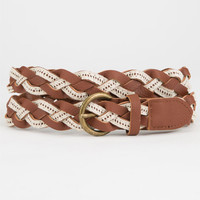 Crochet Braid Belt Cognac  In Sizes