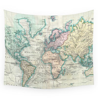 Society6 Vintage Map Of The World (1801) Wall Tapestry