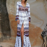 Bohemian Printed Long Sleeve Front Slit Maxi Dress