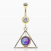 zzz-Golden Galaxy Triangle Belly Button Ring