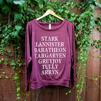 Women's Game of Thrones Houses American Apparel Tri-Blend Pullover in Cranberry CHOOSE SIZE Small, Medium or Large