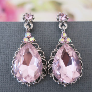 Pink Drop Bridal Earrings, Crystal Wedding Jewelry, Statement Vintage Style