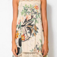 Floral Print Sleeveless Mini Dress with Lace Accent