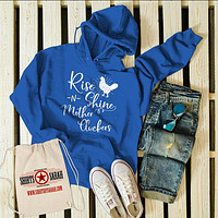 Men's Funny Vintage Chicken Hoodie Rise Shine Mother Cluckers Farming Pullover Sweatshirt
