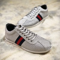 Gucci Bambi Glitter Low-top Trainers Silver 419712kw0401074329 - Best Online Sale