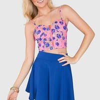 Lively Floral Bustier - Neon Pink