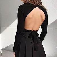 Solid Women Tops Shirts Sexy Backless Long Sleeve Turtle Neck Shirts Casual Blusa