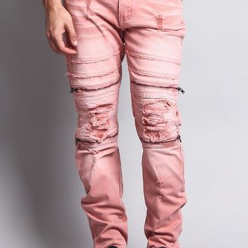 Faded Zipper Cut Distressed Knee Biker Denim Jeans