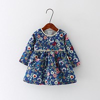 New Autumn Baby Girl Dress Cotton Infant Floral Print European Style Vintage Long Sleeve Toddler Dresses Birthday Baby Clothes