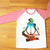 Galaxy Deathly Hallows T-Shirt Harry Potter T-Shirt Pink Sleeve Tee Shirt Women T-Shirt Men T-Shirt Unisex T-Shirt Baseball T-Shirt S,M,L