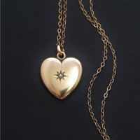 Antique VICTORIAN Puffy HEART Charm Seed PEARL Necklace Pendant Gold Filled Chain, Token of Love Jewelry c.1890's