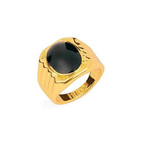 Vintage Black Men's Single Ring 18K Gold Plated Rings 1pc