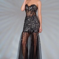 PRIMA C132515 Black Sheer Bottom Prom Dress